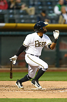 Sherman Johnson (3) of the Salt Lake Bees follows through on his swing against the Sacramento River Cats during the Pacific Coast League game at Smith's Ballpark on August 11, 2017 in Salt Lake City, Utah. The River Cats defeated the Bees 8-7. (Stephen Smith/Four Seam Images)