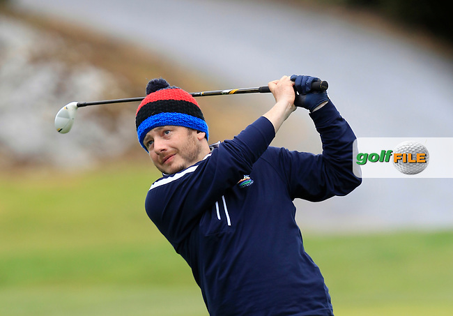 Jason McLynn (Galway Bay) on the 5th tee during the Final of the Connacht Barton Shield at Galway Golf Club on Sunday 7th June 2015.<br /> Picture:  Thos Caffrey / www.golffile.ie