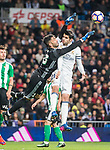 Goalkeeper Antonio Adan of Real Betis clashes with Alvaro Morata of Real Madrid while saving a shot during their La Liga match between Real Madrid and Real Betis at the Santiago Bernabeu Stadium on 12 March 2017 in Madrid, Spain. Photo by Diego Gonzalez Souto / Power Sport Images