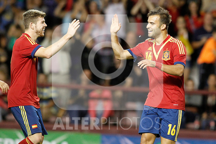 Spain's Jese Rodriguez (r) and Alberto Moreno celebrate goal during international match of qualifying for Euro Under-21 2015.September 09,2013.(ALTERPHOTOS/Acero)