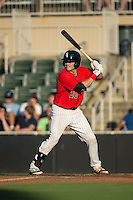 Brett Austin (20) of the Kannapolis Intimidators at bat against the Greensboro Grasshoppers at CMC-Northeast Stadium on August 1, 2015 in Kannapolis, North Carolina.  The Intimidators defeated the Grasshoppers 7-4.  (Brian Westerholt/Four Seam Images)