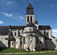 Chevet of Fontevraud Abbey, Fontevraud-l'Abbaye, Loire Valley, Maine-et-Loire, France. The chevet is a radiating apse on the Eastern side of the Romanesque abbey church, built 1105-60. The abbey was founded in 1100 by Robert of Arbrissel, who created the Order of Fontevraud. It was a double monastery for monks and nuns, run by an abbess. The order was dissolved during the French Revolution and the building subsequently used as a prison. Picture by Manuel Cohen