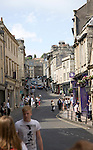 People and shops in Broad Street, Bath, Somerset, England