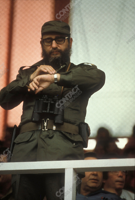 Fidel Castro, President of Cuba, at the World Festival of Youth. Cuba, August 1978<br />