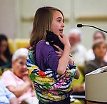 Michelle Coren, 11, of Brentwood, brought her rescued kitten Martin, to the city council meeting in Antioch, California on Tuesday, Apri 8, 2014.  Coren spoke to the council members about her rescue efforts and to plead with the council to not impose a feral cat feeding ban in public spaces in Antioch, California.  The Antioch City Council voted 4-1 to impose the feeding ban.  Photo/Victoria Sheridan