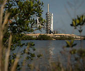 The SpaceX Falcon 9 rocket, with the Dragon spacecraft onboard, is seen shortly after being raised vertical at Launch Complex 39A at NASA's Kennedy Space Center in Cape Canaveral, Florida, Thursday, June 1, 2017. Dragon is carrying almost 6,000 pounds of science research, crew supplies and hardware to the International Space Station in support of the Expedition 52 and 53 crew members. The unpressurized trunk of the spacecraft also will transport solar panels, tools for Earth-observation and equipment to study neutron stars. This will be the 100th launch, and sixth SpaceX launch, from this pad. Previous launches include 11 Apollo flights, the launch of the unmanned Skylab in 1973, 82 shuttle flights and five SpaceX launches. <br /> Mandatory Credit: Bill Ingalls / NASA via CNP