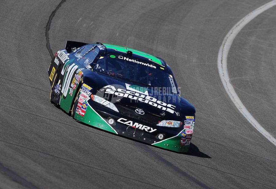 Oct. 10, 2009; Fontana, CA, USA; NASCAR Nationwide Series driver Brian Scott during the Copart 300 at Auto Club Speedway. Mandatory Credit: Mark J. Rebilas-