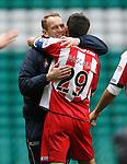 Kenny Shiels celebrates with Manuel Pascali