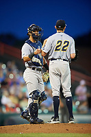 Trenton Thunder catcher Chace Numata (6) in a mound visit with starting pitcher Will Carter (22) during a game against the Richmond Flying Squirrels on May 11, 2018 at The Diamond in Richmond, Virginia.  Richmond defeated Trenton 6-1.  (Mike Janes/Four Seam Images)