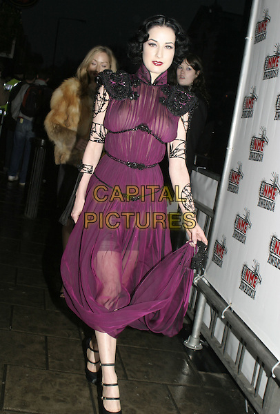 DITA VON TEESE.The Shockwaves NME Awards 2005,.Hammersmith Palais, Shepherds Bush Road,.London, February 17th 2005..full length purple dress sheer see-through thru see through black cape shoulders arm jewellery Heather Sweet  .Ref: AH.www.capitalpictures.com.sales@capitalpictures.com.?Capital Pictures.