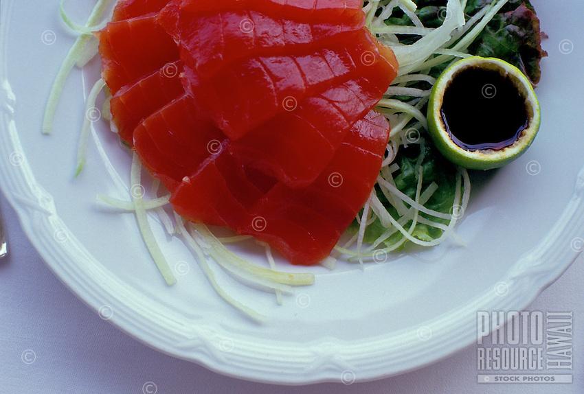 "Gourmet platter of """"ahi sashimi;"""" raw tuna, an Island delicacy."