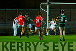 East Kerry's Kevin Bowler (17) drives his shot past keeper Seam Brodeick to scores  his goal in extra time in the County Minor football final against St Brendans in Austin Stack Park on Wednesday evening