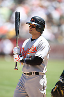 OAKLAND, CA - July 22:  Brian Roberts of the Baltimore Orioles bats during the game against the Oakland Athletics at the McAfee Coliseum in Oakland, California on July 22, 2007.  The Orioles defeated the Athletics 2-0.  Photo by Brad Mangin