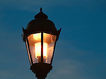 A street lamp at dusk in Missoula, Montana