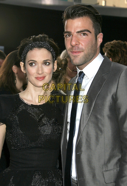 "WINONA RYDER & ZACHARY QUINTO.""Star Trek"" Los Angeles Premiere held at Grauman's Chinese Theatre, Hollywood, CA, USA..April 30th, 2009.half length headband hair band black beads beaded lace net netting grey gray suit jacket stubble facial hair .CAP/ADM/MJ.©Michael Jade/AdMedia/Capital Pictures."
