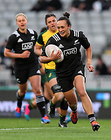 Ruahei Demant scores during the International Women's Rugby match between the New Zealand All Blacks and Australia Wallabies at Eden Park in Auckland, New Zealand on Saturday, 17 August 2019. Photo: Simon Watts / lintottphoto.co.nz