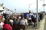 Dr. Henry Lyons addresses the crowd at the naming ceremony of the Jeanie Johnston on Sunday..Picture by Don MacMonagle