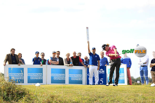 Miguel Angel Jimenez (ESP) on the 5th tee during Round 1 of the 2015 KLM Open at the Kennemer Golf &amp; Country Club in The Netherlands on 10/09/15.<br /> Picture: Thos Caffrey | Golffile