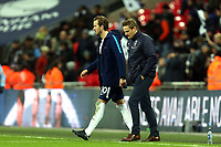 Harry Kane of Tottenham and AFC Wimbledon manager Neal Ardley after Tottenham Hotspur vs AFC Wimbledon, Emirates FA Cup Football at Wembley Stadium on 7th January 2018