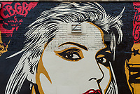 New York, NY 23 August 2017 - Detail of a newly completed mural, by Shepard Fairey,in the East Village. The new mural features Debbie Harry of rock group Blondie which got it's start at CBGB. ©Stacy Walsh Rosenstock