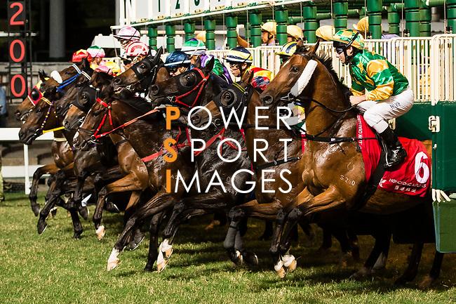 Jockeys riding their horses during the race 6 of during Hong Kong Racing at Happy Valley Race Course on November 08, 2017 in Hong Kong, China. Photo by Marcio Rodrigo Machado / Power Sport Images