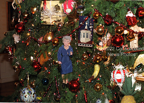 Some of the dolls and ornaments on the White House Christmas tree in the Blue Room of the White House in Washington, D.C. on December 6, 1999..Credit: Ron Sachs / CNP