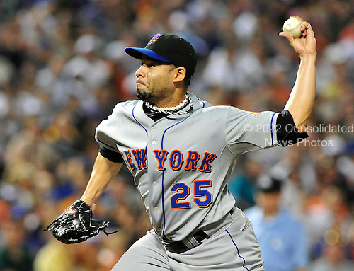 New York Mets pitcher Pedro Feliciano (25) works in the eighth inning against the Baltimore Orioles at Oriole Park at Camden Yards in Baltimore, Maryland on Saturday, June 12, 2010. The Mets won the game 3 - 1..Credit: Ron Sachs / CNP.(RESTRICTION: NO New York or New Jersey Newspapers or newspapers within a 75 mile radius of New York City)