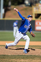 Saint Louis Billikens relief pitcher Mick Layton (52) in action against the Davidson Wildcats at Wilson Field on March 28, 2015 in Davidson, North Carolina. (Brian Westerholt/Four Seam Images)