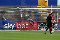 Maccs Theo Archibald beats o's keeper Dean Brill to make it 1.0 during Macclesfield Town vs Leyton Orient, Sky Bet EFL League 2 Football at the Moss Rose Stadium on 10th August 2019