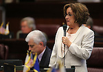 Nevada Sen. Debbie Smith, D-Sparks, speaks on the Senate floor at the Legislative Building in Carson City, Nev., on Monday, April 22, 2013. The Senate approved Smith's bill Monday which would require a DNA sample be taken from people arrested on felony charges. The bill is also known as Brianna's Law, in honor of Zunino-Denison's daughter who was killed in Reno in 2008. (AP Photo/Cathleen Allison)
