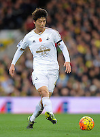 Ki Sung-yueng of Swansea City during the Barclays Premier League match between Norwich City and Swansea City played at Carrow Road, Norwich on November 7th 2015