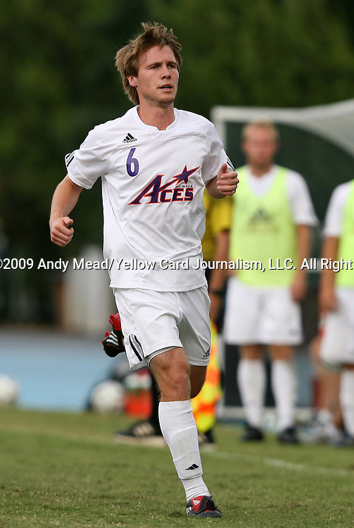 06 September 2009: Evansville's Kieran Purcell. The University of North Carolina Tar Heels defeated the Evansville University Purple Aces 4-0 at Fetzer Field in Chapel Hill, North Carolina in an NCAA Division I Men's college soccer game.