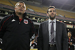 22 October 2011: DC United head coach Ben Olsen (right) with assistant coach Chad Ashton (left). Sporting Kansas City defeated DC United 1-0 at RFK Stadium in Washington, DC in a 2011 regular season Major League Soccer game.