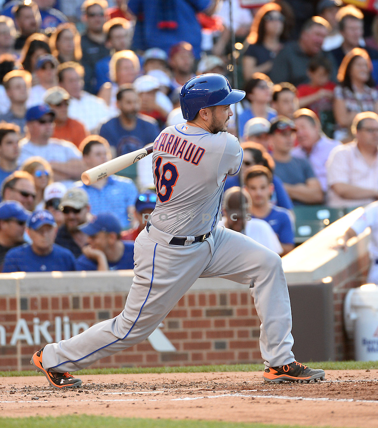New York Mets Travis D'Arnaud (18) during a game against the Chicago Cubs on July 18, 2016 at Wrigley Field in Chicago, IL. The Cubs beat the Mets 5-1.