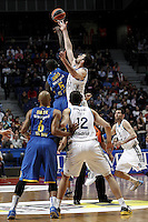 Real Madrid's Mirza Begic, Nikola Mirotic, Rudy Fernandez and Maccabi's Rudy Fernandez (b), Smith during Euroliga quarter final match. April 10,2013.(ALTERPHOTOS/Alconada) /NortePhoto