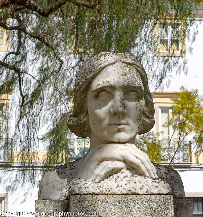 Statue bust sculpture of poet feminist writer Florbela Espanca 1894-1930, Jardim Publico park, Evora, Portugal