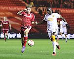 Tomas Kalas of Middlesbrough striding in front of Mohamed Diame of Hull City stopping him getting to the ball during the Sky Bet Championship League match at The Riverside Stadium.  Photo credit should read: Jamie Tyerman/Sportimage
