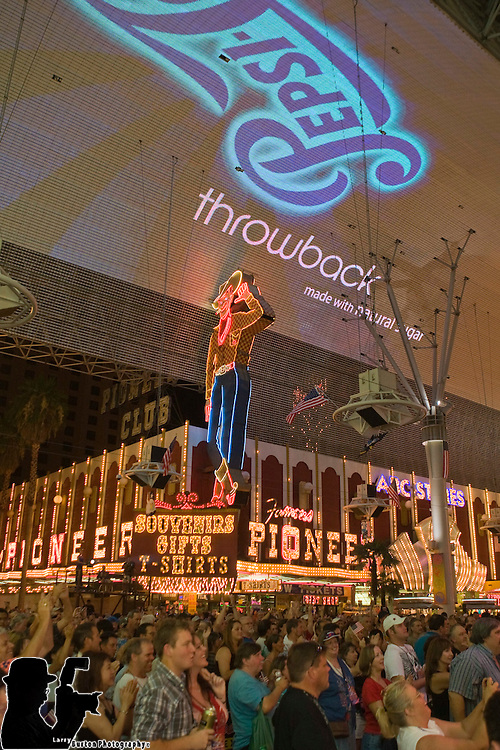 Fremont Street Experience Summer of 69  with The Grass Roots celetbrating the 4th of July with American Pie and Viva Vision Fireworks