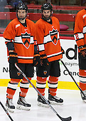 Tom Kroshus (Princeton - 4), Kevin Liss (Princeton - 3) - The Harvard University Crimson defeated the visiting Princeton University Tigers 5-0 on Harvard's senior night on Saturday, February 28, 2015, at Bright-Landry Hockey Center in Boston, Massachusetts.