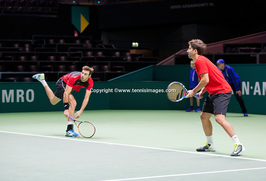 Februari 11, 2015, Netherlands, Rotterdam, Ahoy, ABN AMRO World Tennis Tournament, Marcel Granollers (ESP) / Marc Lopez (ESP)<br /> Photo: Tennisimages/Henk Koster