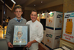 07-02-06 Chef Neven Maguire cookery demonstration in conjunction with Flogas held in the Kilmore Hotel, Cavan..Shane Craig presents Neven Maguire with an original of the poster designed for tonight's demonstration..Photo:Barry Cronin/Newsfile.