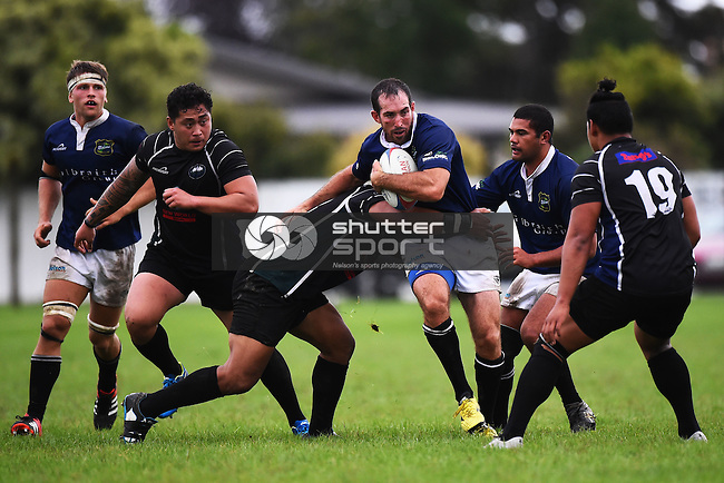 NELSON, NEW ZEALAND - APRIL 2: Division 1 Club Rugby Kahurangi v Nelson at Sports Park, Motueka on April 2, 2016 in Nelson, New Zealand. (Photo by: Chris Symes/Shuttersport Limited)