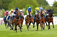 Winner of The Shadwell Stud Racing Excellence Apprentice Handicap Moorovertheridgeridden left by Harry Burns and trained by Grace Harris during Afternoon Racing at Salisbury Racecourse on 17th May 2018