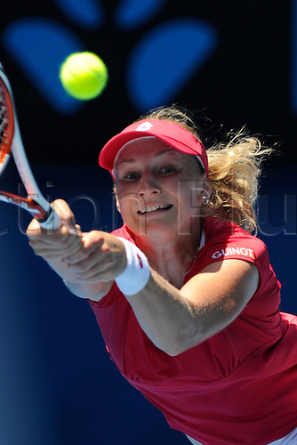 25.01.2012 Australian Open Tennis from Melbourne Park. Ekaterina Makarova (RUS) returns a shot in her match on the tenth day of the Australian Open Tennis Championships in Melbourne, Australia.
