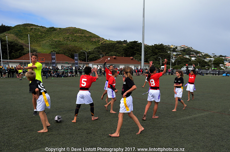 Poverty Bay celebrates at the final whistle of the final against North harbour. Day two of the 2017 Air NZ Rippa Rugby Championship at Wakefield Park in Wellington, New Zealand on Tuesday, 19 September 2017. Photo: Dave Lintott / lintottphoto.co.nz