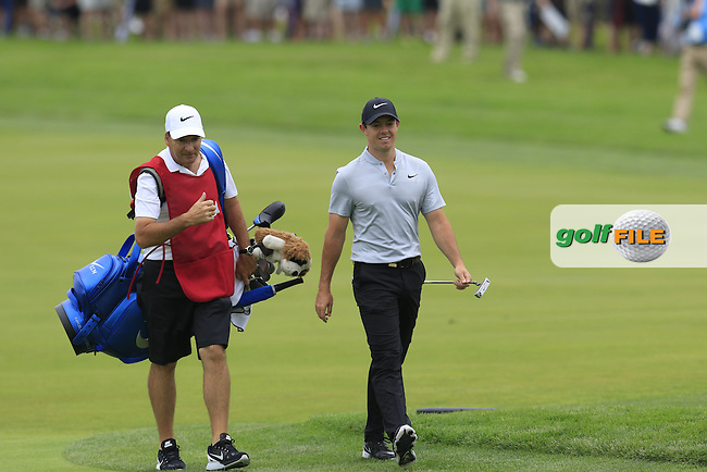 Rory McIlroy (NIR) and caddy J.P.Fitzgerald on the 4th hole during Thursday's Round 1 of the 2016 U.S. Open Championship held at Oakmont Country Club, Oakmont, Pittsburgh, Pennsylvania, United States of America. 16th June 2016.<br /> Picture: Eoin Clarke | Golffile<br /> <br /> <br /> All photos usage must carry mandatory copyright credit (&copy; Golffile | Eoin Clarke)