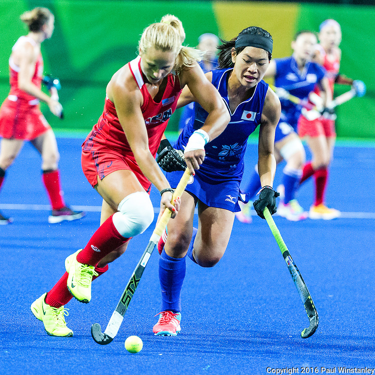 Kelsey Kolojejchick #7 of United States carries the ball during USA vs Japan in a Pool B game at the Rio 2016 Olympics at the Olympic Hockey Centre in Rio de Janeiro, Brazil.