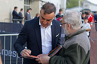 Pictured: Carlos Carvalhal (L) signs an autograph. Wednesday 02 May 2018<br /> Re: Swansea City AFC Official Player Of The Season Awards Dinner 2018 at the Liberty Stadium, Wales, UK.