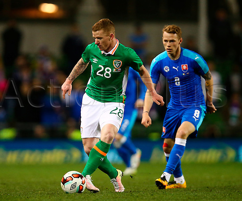 29.03.2016. Aviva Stadium, Dublin, Ireland. International Football Friendly Rep. of Ireland versus Slovakia. <br /> Jonathan Hayes (Rep. of Ireland) takes the ball under control.