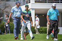 Matt Kuchar (USA) makes a point to Rafael Cabrera Bello (ESP) and Pat Perez (USA) as they depart the 10th tee during round 1 of the World Golf Championships, Mexico, Club De Golf Chapultepec, Mexico City, Mexico. 3/1/2018.<br /> Picture: Golffile | Ken Murray<br /> <br /> <br /> All photo usage must carry mandatory copyright credit (&copy; Golffile | Ken Murray)